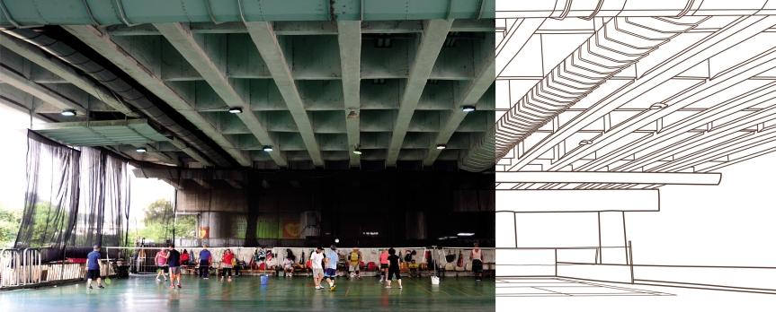 Représentation des dessous de ponts de Taipei par Morgane LeGuilloux
